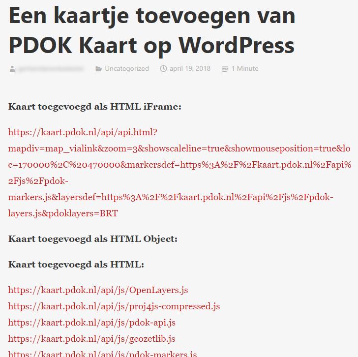 pdok kaart PDOK Kaart map toevoegen in WordPress   PDOK Kaart   Geoforum